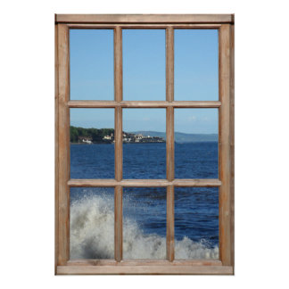 Ocean View from a Window with Sea Spray Poster