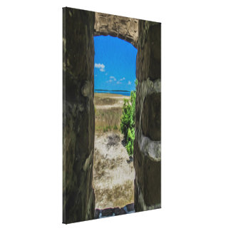 Ocean View from Brick Wall Open Air Window Canvas