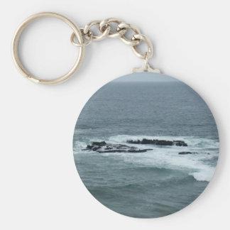 Ocean View Basic Round Button Key Ring