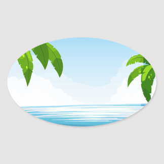 Ocean view oval sticker