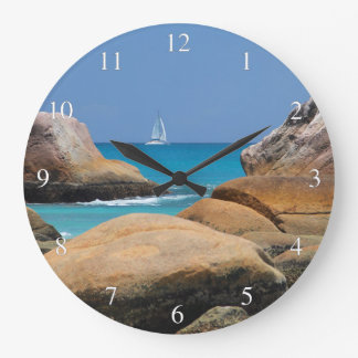 Ocean View Sailboat Rocks Clocks