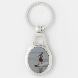 Ocean Wakeboarder Silver-Colored Oval Key Ring