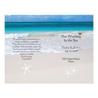 Ocean Water & Beach Sand Wedding Program Template Flyer
