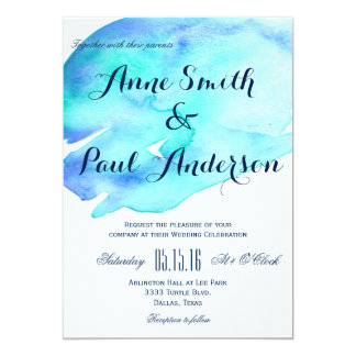 Ocean watercolor wedding invitation IV