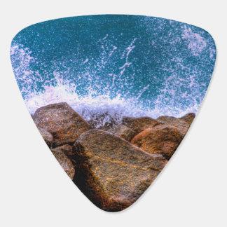 Ocean Wave Crashing on Rocks Guitar Pick
