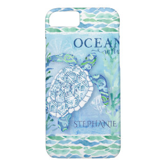 Ocean Wave Modern Triangle Pattern Sea Turtle iPhone 8/7 Case