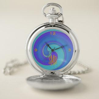 Ocean Wave Pocket Watch w 3-Initials