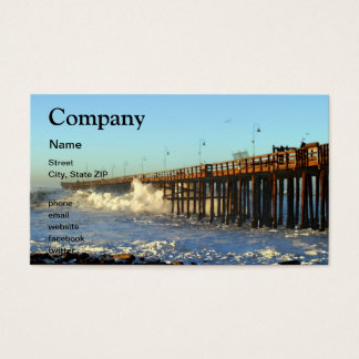 Ocean Wave Storm Pier Business Card