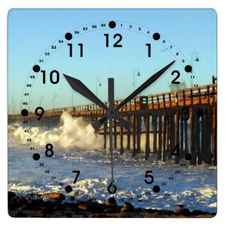 Ocean Wave Storm Pier Clock