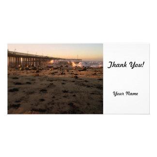 Ocean Wave Storm Pier Custom Photo Card