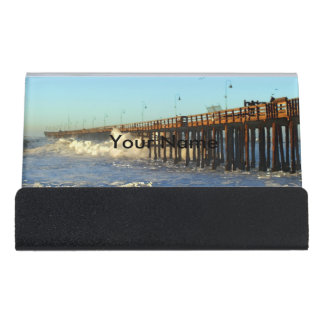 Ocean Wave Storm Pier Desk Business Card Holder