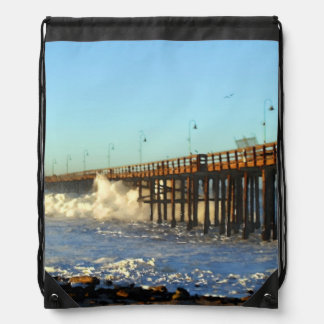 Ocean Wave Storm Pier Drawstring Bag