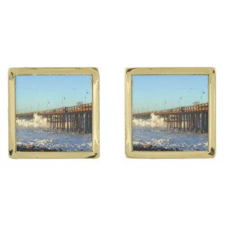 Ocean Wave Storm Pier Gold Finish Cuff Links