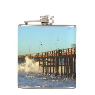 Ocean Wave Storm Pier Hip Flask