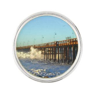 Ocean Wave Storm Pier Lapel Pin