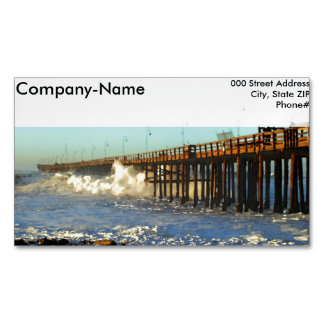 Ocean Wave Storm Pier Magnetic Business Card