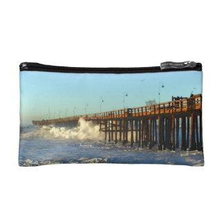 Ocean Wave Storm Pier Makeup Bags