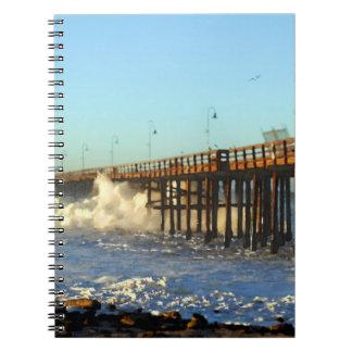 Ocean Wave Storm Pier Notebook