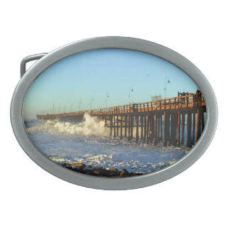 Ocean Wave Storm Pier Oval Belt Buckle