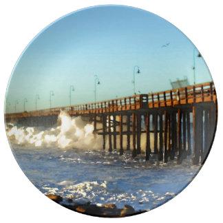 Ocean Wave Storm Pier Plate