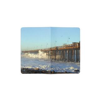 Ocean Wave Storm Pier Pocket Moleskine Notebook