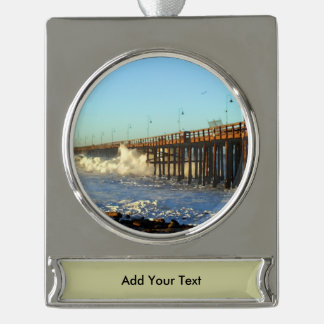 Ocean Wave Storm Pier Silver Plated Banner Ornament