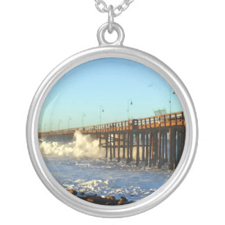 Ocean Wave Storm Pier Silver Plated Necklace