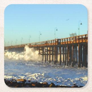 Ocean Wave Storm Pier Square Paper Coaster