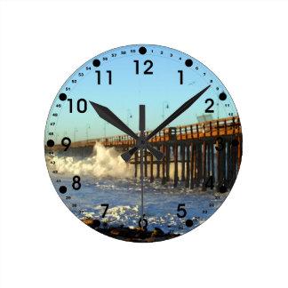 Ocean Wave Storm Pier Wall Clocks