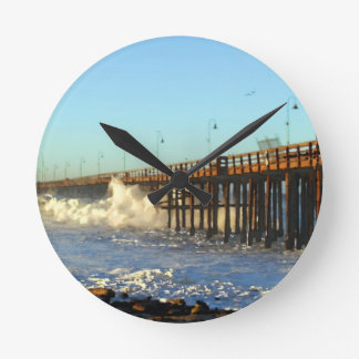Ocean Wave Storm Pier Wallclock