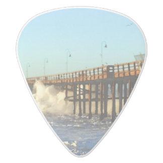 Ocean Wave Storm Pier White Delrin Guitar Pick