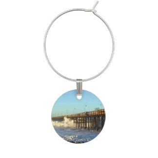 Ocean Wave Storm Pier Wine Glass Charm
