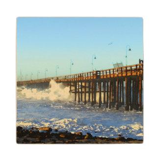 Ocean Wave Storm Pier Wood Coaster