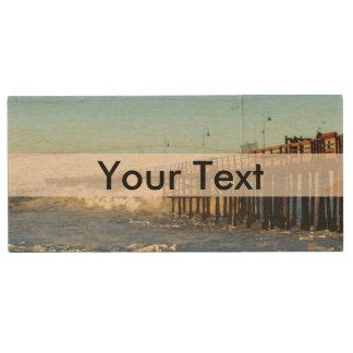 Ocean Wave Storm Pier Wood USB Flash Drive