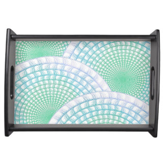 Ocean Waves Abstract Serving Tray