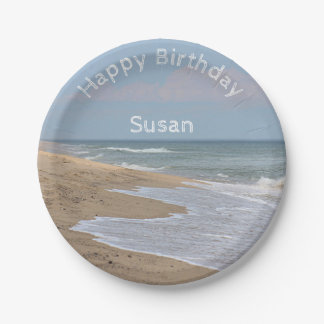Ocean waves and beach paper plate