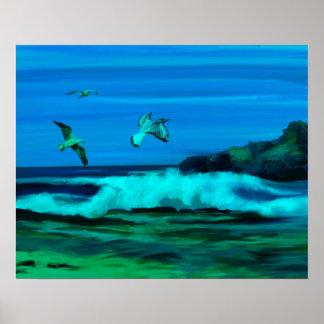 Ocean, Waves and Coastline Digital Art Painting Poster