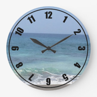 Ocean Waves and Sandy Beach Large Clock