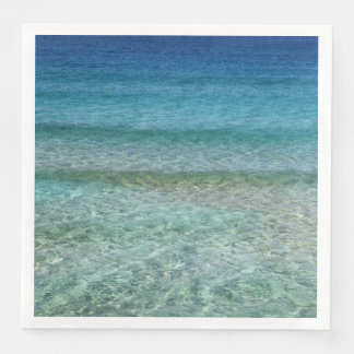 Ocean Waves Aqua Blue Abstract Art Paper Napkins