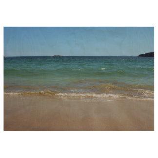 Ocean Waves at Sand Beach Wood Poster