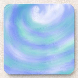 Ocean Waves Blue and Aqua Abstract Art Design Coaster