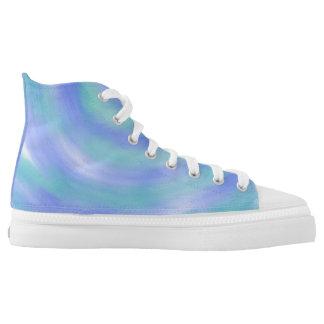 Ocean Waves Blue and Aqua Abstract Art Design High Tops