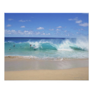 Ocean waves breaking on the beach, Sandy Beach Poster
