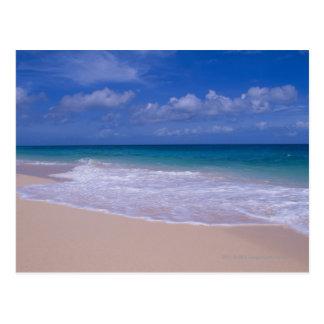 Ocean waves foaming onto sandy beach postcard