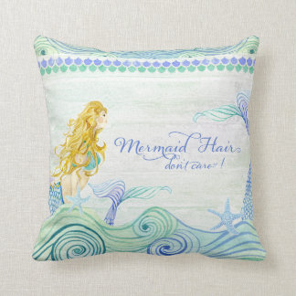 Ocean Waves Mermaid Hair Tail Wooden Saying Sign Cushion