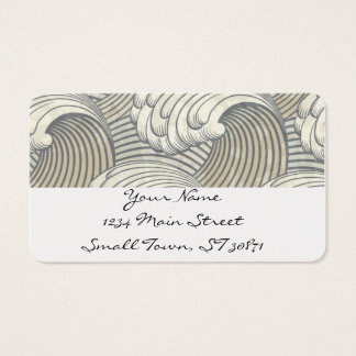 Ocean Waves Pattern Ancient Japan Art Business Card