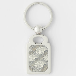 Ocean Waves Pattern Ancient Japan Art Silver-Colored Rectangle Key Ring