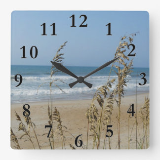 Ocean Waves Sand Dune Sea Oats Landscape Photo 2 Square Wall Clock