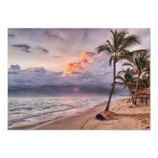 Ocean Waves Sandy Beach Sunset 13 Cm X 18 Cm Invitation Card
