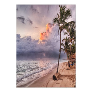 Ocean Waves Sandy Beach Sunset Magnetic Invitations
